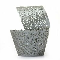 12X Filigree Vine Cake Cupcake Wrappers Wraps Cases Silver Gray SS