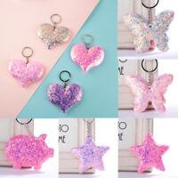 Women Men Sequin Glitter Keychain Star Heart Keyring Car Handbag Fashion Gift