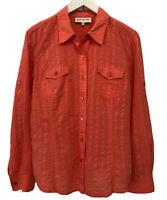 Jones New York Womens Shirt Coral Orange Sz Large Long Sleeve Button Up Roll Tab