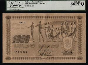 TT PK 67a 1922 FINLAND 1000 MARKKAA SCARCE OVERSIZE NOTE LCG 66 PPQ TIED AS BEST