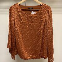 Alfani Womens Sheer Top Blouse Sz Plus 1X Shirt Rust Bell Sleeve Elastic Hem NWT