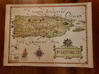 "Vintage 21.5"" x 16.5"" PUERTO RICO map by Island Workshop 1964"
