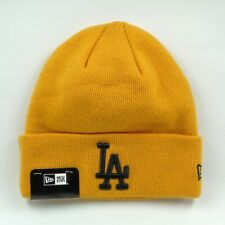 New Era Cap Men's MLB LA Dodgers Team Essential Mustard Winter Knit Beanie Hat