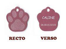 medaille gravee chien ou chat - modele petite patte de chat calinette - rose