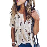 Womens Vintage Boho Short Sleeve T Shirt Casual V Neck Floral Printed Top Blouse