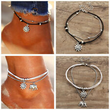 Large Anklet Glass Pearl Bead Silver White Black Rainbow Wedding Bloated Fat Costume Jewellery Anklets