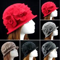 Elegant Lady Women Winter Flower Cloche Wool Felt Bucket Fishing Bowler Hat Cap