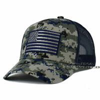 USA AMERICAN Flag Hat Tactical Operator Mesh Snapback Baseball Cap- Navy Camo
