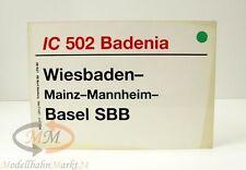 """DB Zuglaufschild InterCity 502 """"Badenia"""" Maße: 30 x 21 cm"""