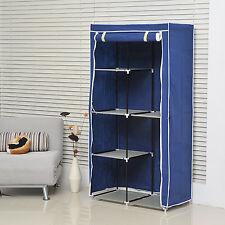 HOMCOM DIY Wardrobe Closet Blue Furniture Portable Clothes Fabric Non-woven
