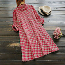 UK 8-24 ZANZEA Women Check Turn Down Collar Top Shirt Long Sleeves Dress Skirt
