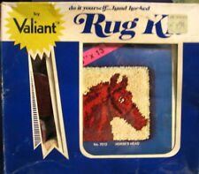 "Vintage Valiant Latch Hook Rug Kit 13"" x 13"" Horse Head, Box Open but Not Starte"
