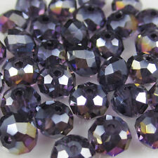 DIY Jewelry Faceted 500pcs 4x6mm Rondelle glass Crystal Beads purple AB