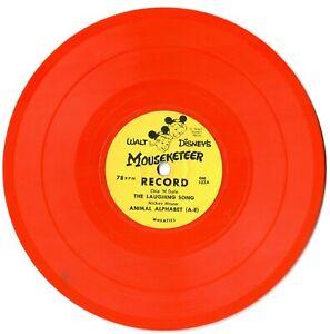 "2 Disney 1950s Wheaties orange 7"" EPs Mouseketeer records + Mailer Mickey Donald"