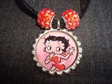 Black Ribbon Bottle Cap Charm Necklace Beads Betty Boop Flapper Cartoon Comic