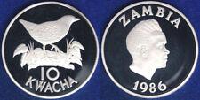 10 KWACHA 1986 WWF ZAMBIA ARGENTO SILVER PROOF #1513