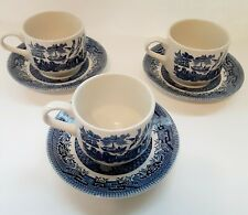 Churchill England Blue Willow Coffee Mug Tea Cup And Saucer Sets Lot of 3