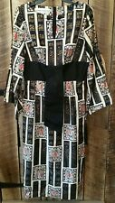 Vintage Alfred Shaheen The Master Printer Asian Japanese graphic Long Dress Gown