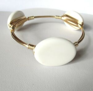 """White Agate Bangle Bracelet """"Bourbon and Bowties"""" Inspired"""