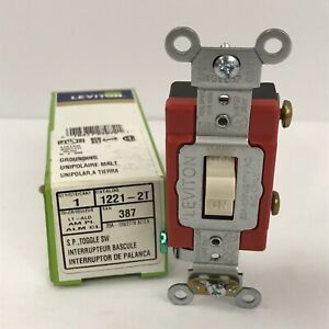 Leviton 1221-2T Light Almond Toggle Switch 20A 120/277V Spec Grade ~NEW~