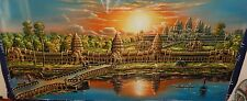 """SOPHAT ANCIENT TEMPLE ANGKOR WAT CAMBODIA OIL ON CANVAS PAINTING 28"""" X 55"""""""