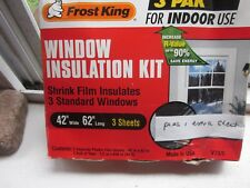 "WINDOW INSULATION KIT FROST KING 3 SHEETS 42' x 62"" INDOOR USE + One Extra Sheet"