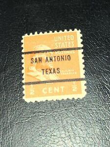 Sc#803 US Stamp 1938 1/2c Franklin Used Prexie Precancel San Antonio Texas-#2212