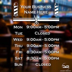 Barber Shop Personalised Custom Opening Hours Window Sign Vinyl Decal Sticker