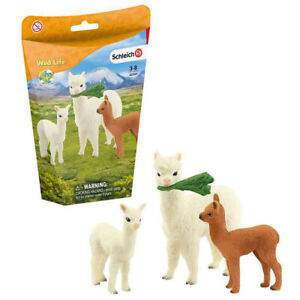 Schleich Alpaca Figure Set Wild Life Animal Family Adult & Babies Ages 3+ Boxed