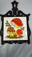 Vintage Cast Iron Framed Ceramic Trivet Mushrooms by FM Made in Japan 8""