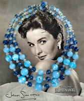 VINTAGE 1950s TRIPLE STRAND  BLUE CRACKLE GLASS CHUNKY BEADS NECKLACE GERMANY