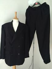 Mens true vintage navy blue pure new wool trouser suit Continental Collection
