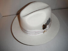 NEW STACY ADAMS deluxe wool FEDORA HAT cream white LARGE