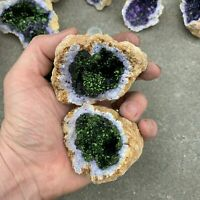 (1) NATURAL GEODE Crystal with PURPLE AND GREEN Center ~ (1/2 - 1 Pound ea.)