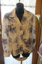 VINTAGE  ~ Grey/Blue Floral ~ BLOUSE/TOP ~ Size S ~