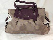 Coach Ashley Op Art Dotted Shoulder-Hand Bag Purse Khaki/Maroon Style F20049