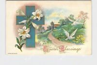 PPC POSTCARD EASTER BLESSINGS WESSLER CROSS LILLY DOVES EMBOSSED