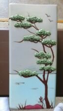 Modern Vintage Porcelain Vase With Birds And Tree With Raised Relief Design