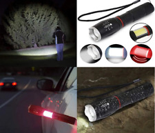 High power flashlight torch Red strobe 10W 7 Lighting Modes led 10000lm COB zoom