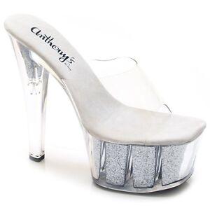 "A-707 Sexy Fashion Sip On 7"" Heel Stilettos Glitter Platform Sandal"