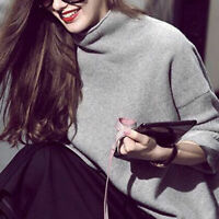 Vogue Tops Women 100% Cashmere Blend High-Necked Sweater Long Sleeve Loose Coat