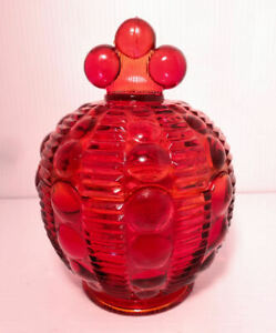 Ruby Red Glass Dot & Zipper Moon Drops Candy Dish 1970's