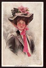 1907 artist signed Boileau Lady Demure glamour girl postcard