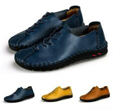 Mens Driving Shoes Casual Lace Up Loafers Leather Comfortable Pumps Shoes Light