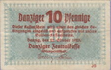 Danzig 10 Pfennig Banknote,22.10.1923,Choice Very Fine Condition Cat#35-A