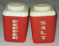 Lustro Ware Salt & Pepper Shakers Red & White Plastic ~ Mid Century Modern RETRO