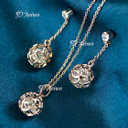 18K ROSE GOLD GF MADE WITH SWAROVSKI CRYSTAL EARRINGS FILIGREE NECKLACE SET