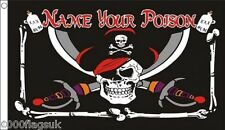 Pirate Jolly Roger Skull and Crossbone Name Your Poison 5'x3' Flag