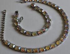 Vintage Weiss Necklace & Bracelet Set~Aurora Borealis Rhinestones/Silver Tone