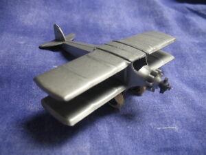 Very Nice Vintage 1930s Tootsie Toy Silver Bi-plane Tin Bottom Wing #4